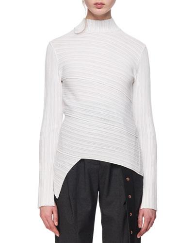 Spiral-Knit Mock-Neck Top
