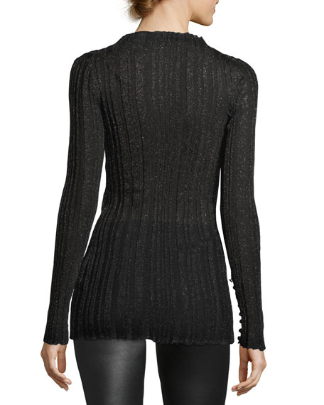 Metallic-Knit Mock-Neck Sweater