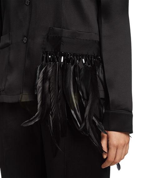 Feather-Embellished Satin Pajama Top