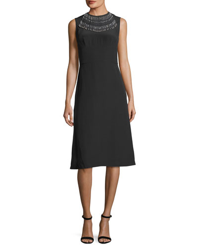 Sleeveless Beaded Crepe de Chine Dress