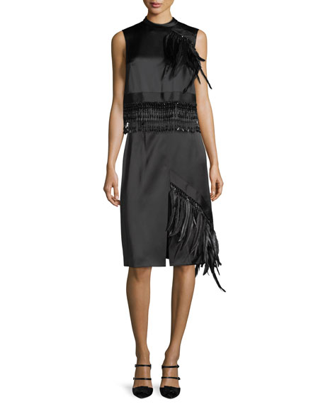 Feather-Trim Satin A-Line Skirt