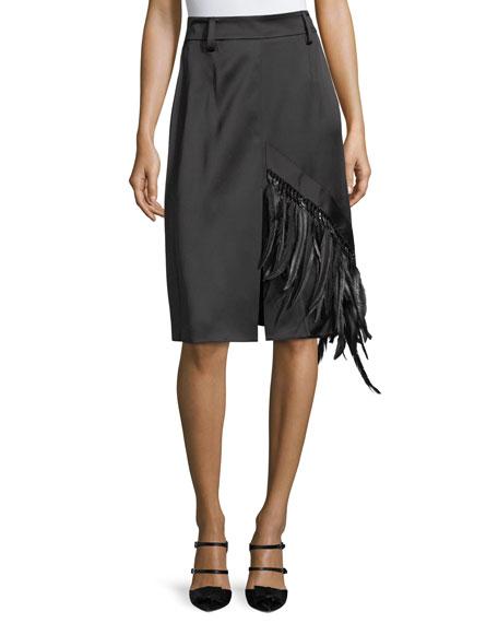 Feather-Trim Satin A-Line Skirt