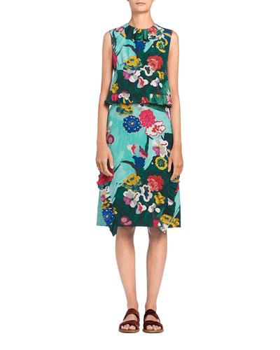 Sleeveless Floral Crepe de Chine Dress