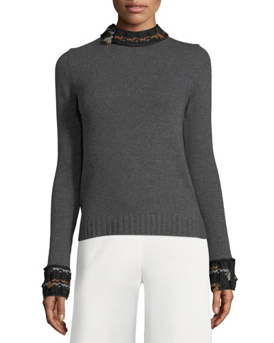 Knit Mock-Neck Tie-Back Sweater