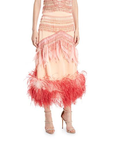 Beaded Feather-Trim Midi Skirt