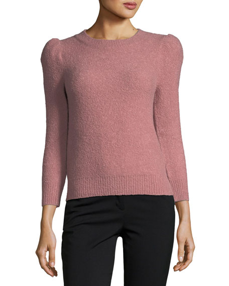 Knit Puff-Shoulder Sweater