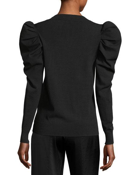 Puff-Sleeve Crewneck Sweater