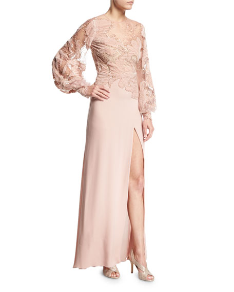 Blouson-Sleeve Embellished Velvet Lace Gown