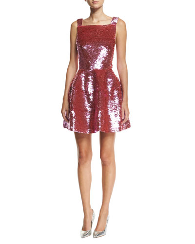 Sleeveless Sequined Mini Dress
