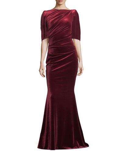 Lobata Velvet Capelet Gown