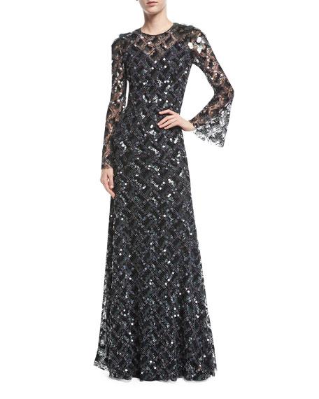JENNY PACKHAM Long-Sleeve Paillette-Embellished Gown in Black