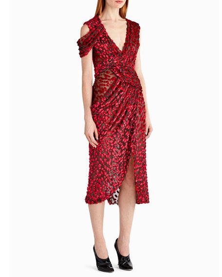 Velvet Devore Off-Shoulder Cocktail Dress