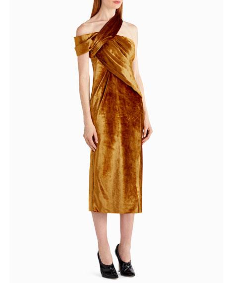 One-Shoulder Velvet Cocktail Dress