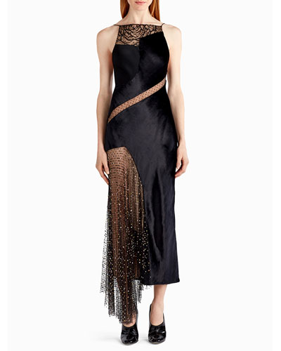 Crystal-Beaded Stain Halter Cocktail Dress