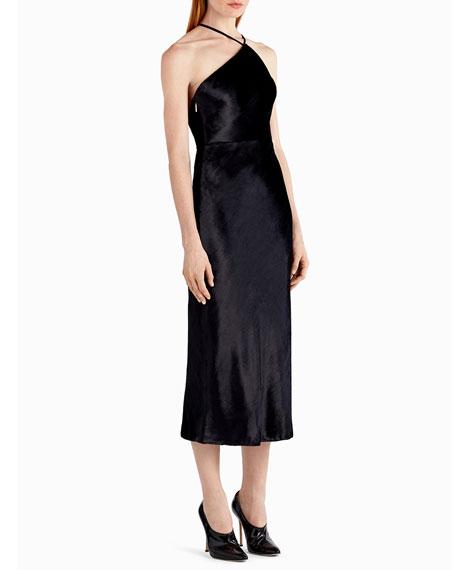 Asymmetric Velvet Halter Cocktail Dress