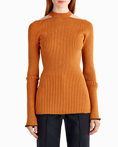 Lit-Shoulder Ribbed Knit Sweater