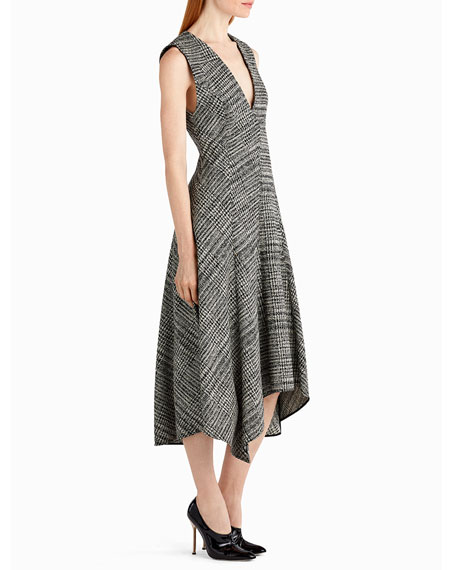 Sleeveless Prince of Wales Check Midi Dress