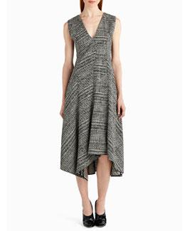 Sleeveless Prince of Wales Check Midi Dress