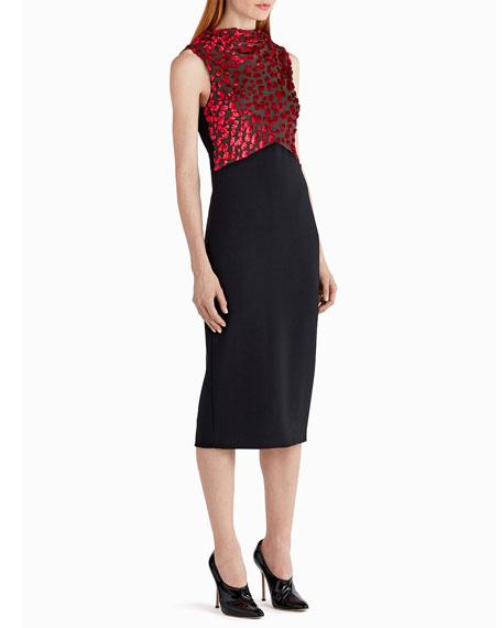 Sleeveless Velvet Devore Combo Cocktail Dress