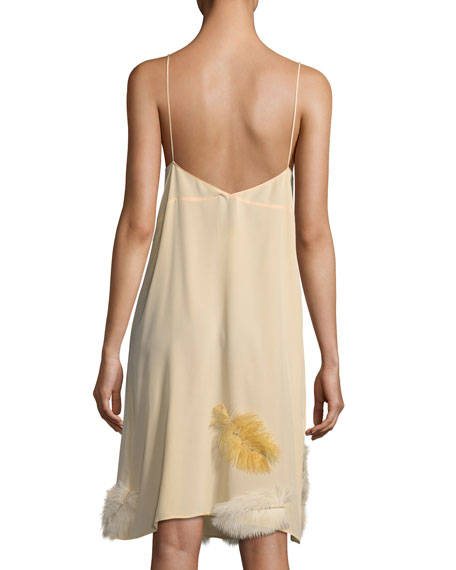 Feather-Embellished Crepe de Chine Cami Dress