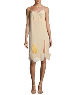 Feather-Embellished Crepe de Chine Cami Dress