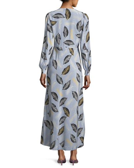 Leaf-Print Crepe de Chine Maxi Dress