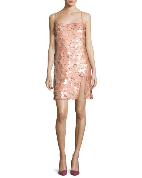 Paillette-Embellished Spaghetti-Strap Dress