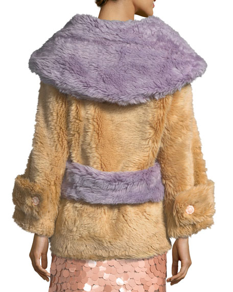 Two-Tone Faux-Fur Coat
