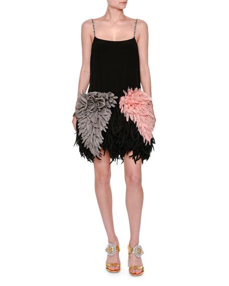 Silk Dress w/ Plume Skirt