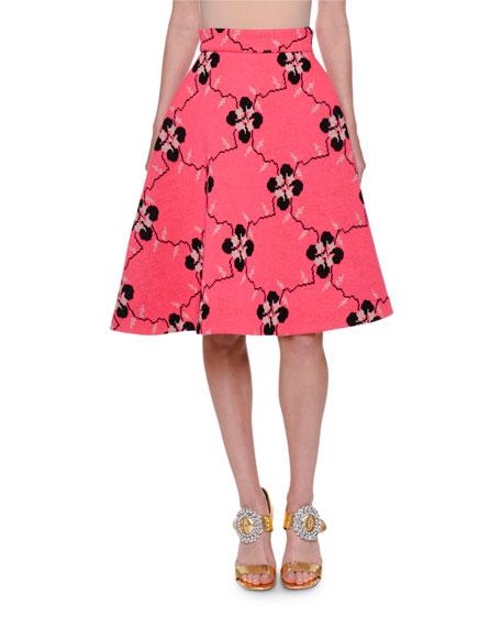 Floral Jersey A-Line Skirt