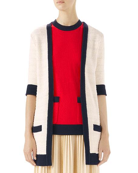 Half-Sleeve Wool-Tweed Cardigan