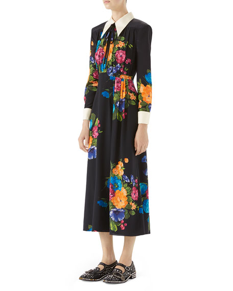 Long-Sleeve Printed Silk Dress