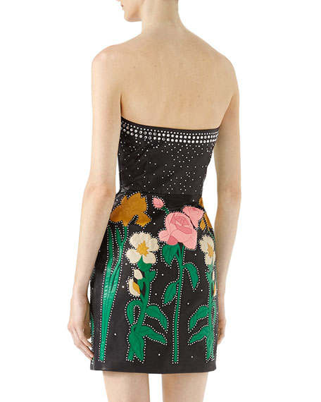 Studded Floral Leather Bustier Dress