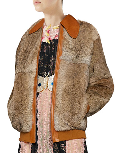 Oversized Fur Bomber Jacket