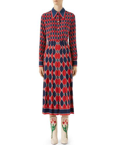 GG Rhombus Printed Silk Blouse