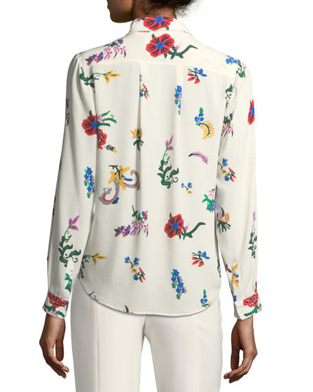 The Oak Floral-Print Silk Blouse