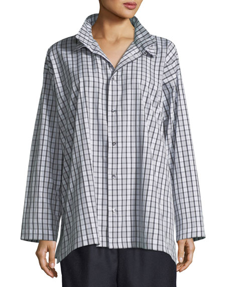 Slim A-Line Two-Collar Shirt with Stepped Insert