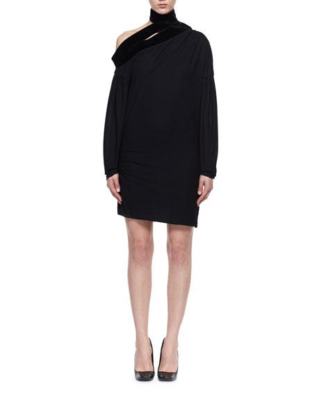 Long-Sleeve Sable Jersey Scarf Dress