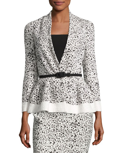 Splatter-Print Peplum Jacket, White/Black