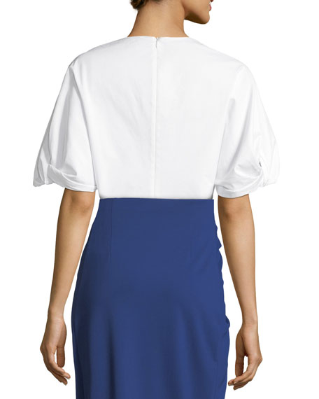 Twist-Sleeve Poplin Tunic