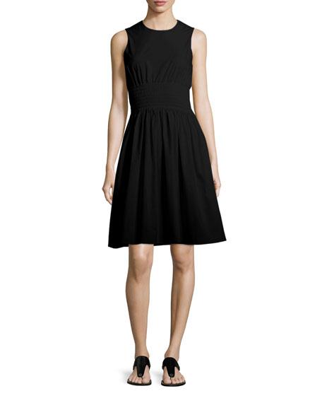 Smocked-Waist Poplin Dress
