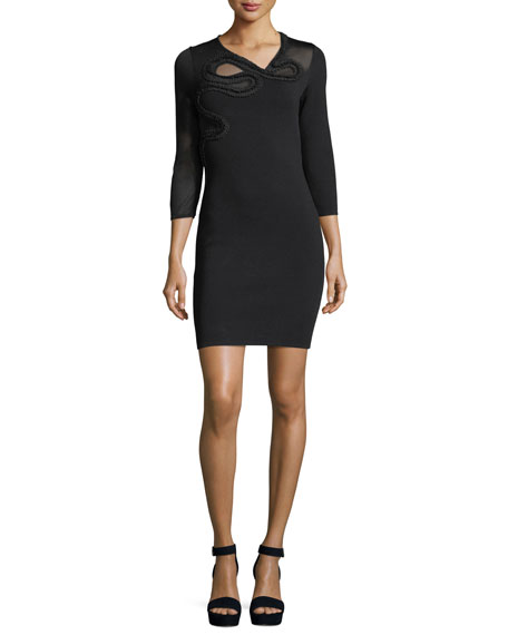 Snake-Embroidered 3/4-Sleeve Cocktail Dress