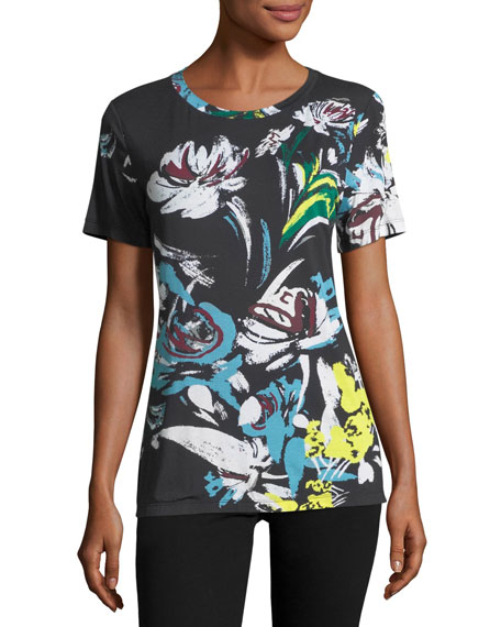 Abstract Floral-Print T-Shirt