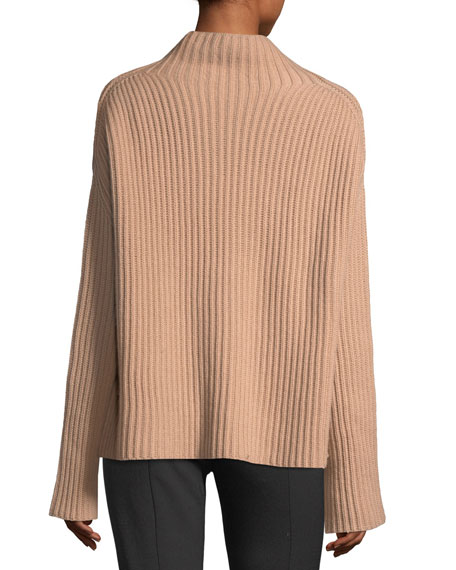 Cashmere Ribbed Mock-Neck Oversized Sweater
