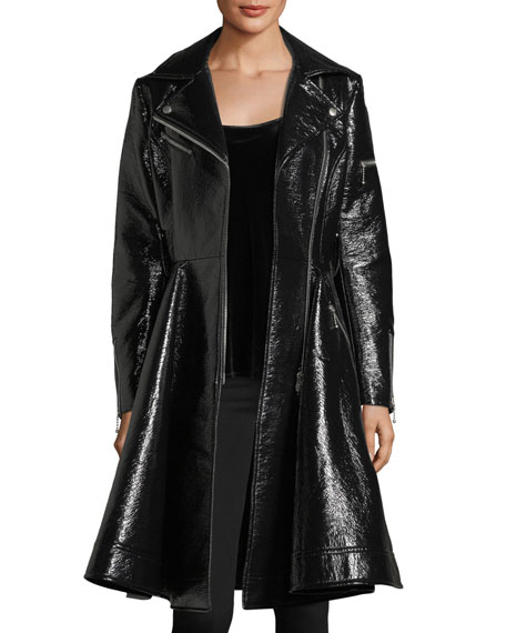 Patent Leather Moto Swing Coat