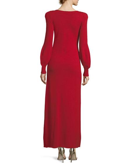 Strong-Shoulder Long Cashmere Dress