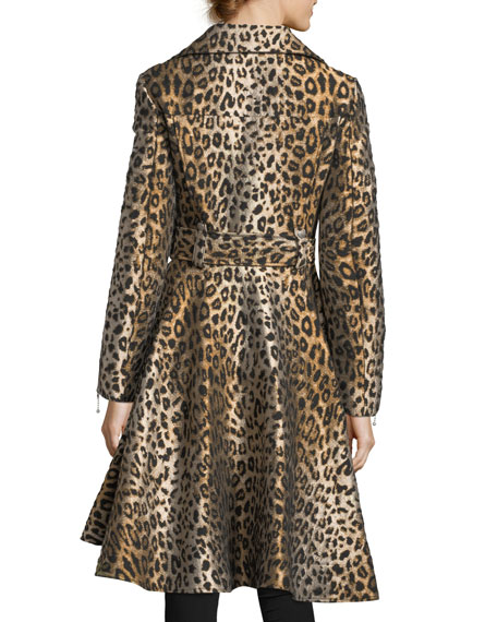 Leopard Jacquard Swing Coat