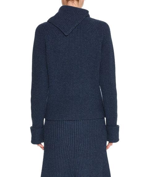 Split-Neck Chunky Knit Sweater