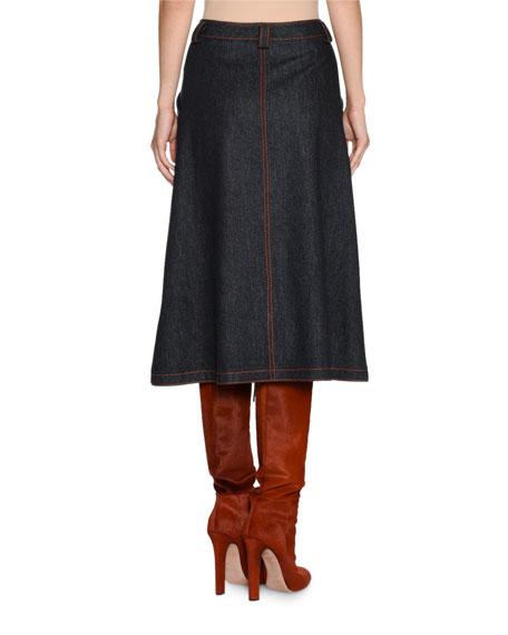 A-Line Denim Midi Skirt
