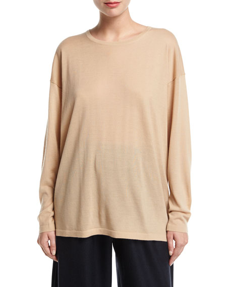 Long Round-Neck Cashmere Top